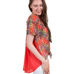 Tops - Checker Print Top With Tied Hem, Red